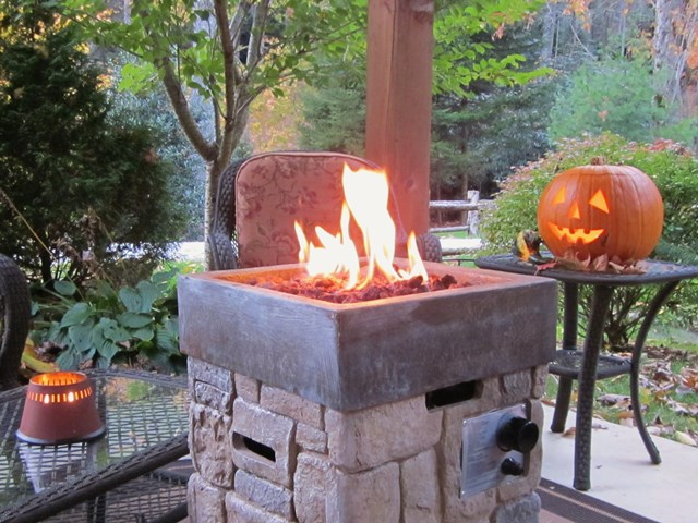 Fire bowl in autumn.